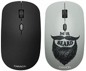 Беспроводная мышь CANYON CND-CMSW401BD {wireless Optical  Mouse with 4 buttons, DPI 800/1200/1600, 1 additional cover(Beard), black, 103*58*32mm, 0.087kg, 2.4GHz}