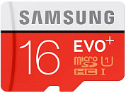 карта памяти 16Гб Samsung EVO Plus Class 10 UHS-I + SD адаптер (read speed up to 80MB/s, write speed up to 20MB/s) (MB-MC16DA/RU)