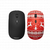 Беспроводная мышь CANYON CND-CMSW401JR {wireless Optical  Mouse with 4 buttons, DPI 800/1200/1600, 1 additional cover(Jersey Red), black, 103*58*32mm, 0.087kg, 2.4GHz}